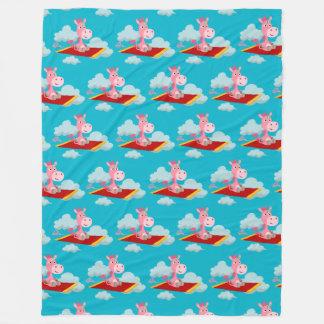 Cartoon Unicorn's Magic Carpet Ride Fleece Blanket