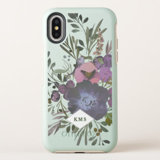 Cas à la mode botanique de monogramme floral