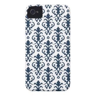 Cas bleu-foncé de l iPhone 4 4S de damassé Coque Case-Mate iPhone 4