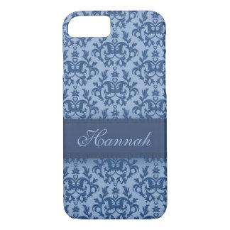 Cas botanique de nom d'iphone de bleu de poudre de coque iPhone 7