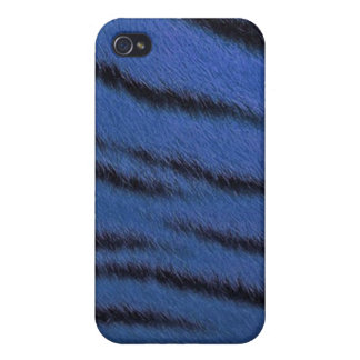 cas de l iPhone 4 - fourrure de tigre - bleu Coques iPhone 4