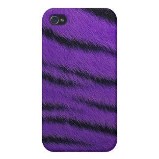 cas de l iPhone 4 - fourrure de tigre - pourpre Coques iPhone 4/4S