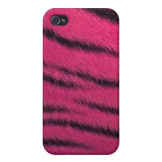 cas de l iPhone 4 - fourrure de tigre - rose Étuis iPhone 4