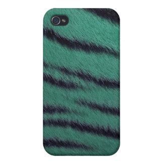 cas de l iPhone 4 - fourrure de tigre - vert Étuis iPhone 4