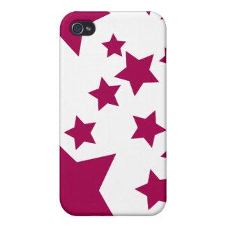 Cas de l'iPhone 4 d'étoiles de rouge et de blanc Coques iPhone 4/4S