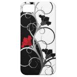 Cas de l'iPhone 5/5S fleurs noires/blanches