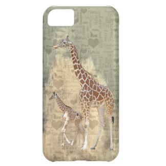 Cas de l'iPhone 5 de girafe de maman et de famille Coque Pour iPhone 5C