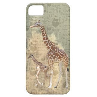 Cas de l'iPhone 5 de girafe de maman et de famille