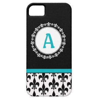Cas de l'iPhone 5 de Monogram Fleur de Lis d'Aqua Coque iPhone 5 Case-Mate