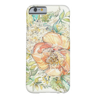 Cas de l'iPhone 6 d'aquarelle de pivoine de pêche Coque Barely There iPhone 6