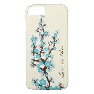 Cas de l'iPhone 7 de fleurs de cerisier (aqua) Coque iPhone 7