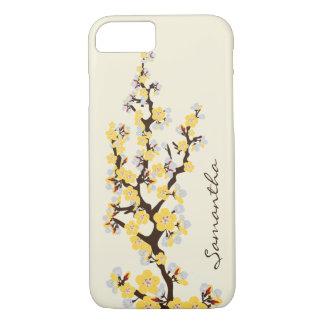 Cas de l'iPhone 7 de fleurs de cerisier (jaune) Coque iPhone 7