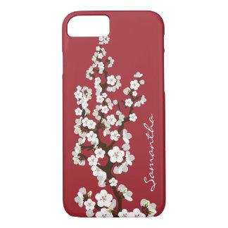 Cas de l'iPhone 7 de fleurs de cerisier (rouge) Coque iPhone 7