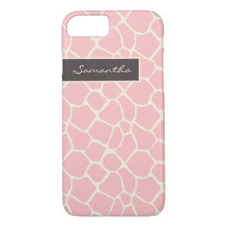 Cas de l'iPhone 7 de motif de girafe (rose) Coque iPhone 7