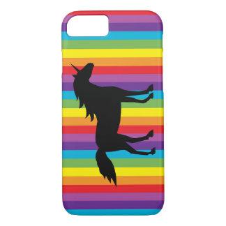 Cas de l'iPhone noir 6 de licorne et d'arc-en-ciel Coque iPhone 7