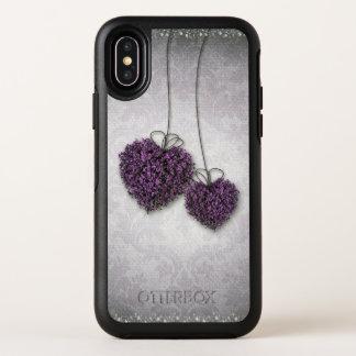 Cas de l'iPhone X d'OtterBox de coeurs pourpres
