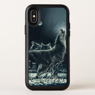 Cas de l'iPhone X d'OtterBox de loups d'hiver