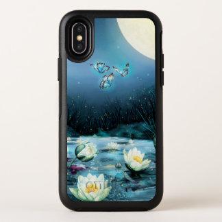 Cas de l'iPhone X d'OtterBox d'étang de Lotus