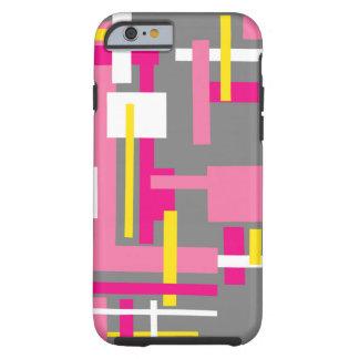 Cas de téléphone avec les blocs gris roses coque iPhone 6 tough