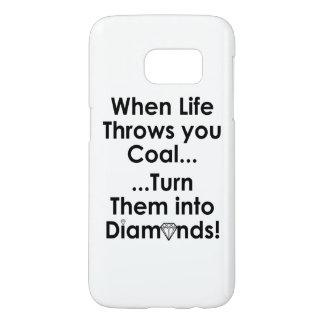 Cas de téléphone de citation de diamants du coque samsung galaxy s7
