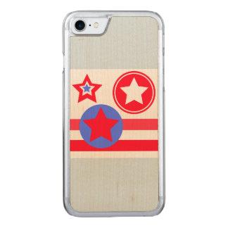 cas de téléphone d'étoiles de drapeau américain coque iphone 7 en bois