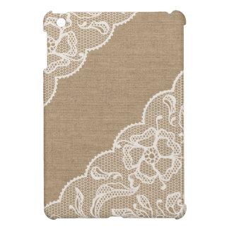 Cas d'iPad de toile de jute et de dentelle #3 mini Coque Pour iPad Mini