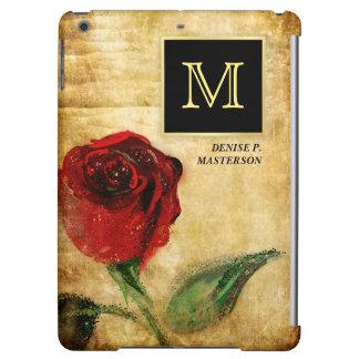 Cas d'iPad exécutif de monogramme de rose rouge