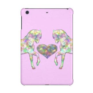 Cas d'iPad rose de chevaux d'arc-en-ciel mini