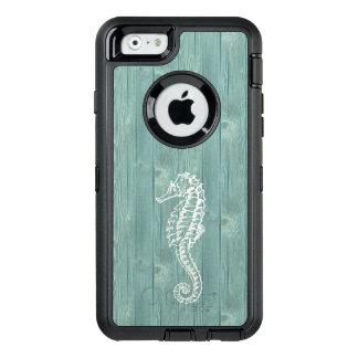 Cas en bois de téléphone d'Aqua vintage blanc Coque OtterBox iPhone 6/6s