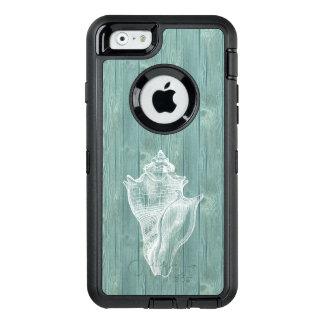 Cas en bois de téléphone d'Aqua vintage blanc de Coque OtterBox iPhone 6/6s