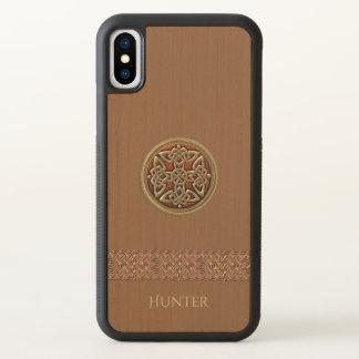Cas en bois naturel de l'iPhone X de noeud