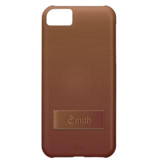 Cas en cuir chic de l'iPhone 5 de texture de Brown Coque iPhone 5C