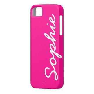 Cas féminin personnalisable rose-foncé de l'iPhone Coque Case-Mate iPhone 5