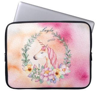 Cas floral de licorne d'aquarelle avec le nom trousse pour ordinateur portable