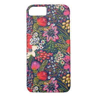 Cas floral lumineux vintage de l'iPhone 7 de tissu Coque iPhone 7