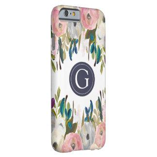 Cas floral peint d'Iphone 6 de monogramme de Coque iPhone 6 Barely There
