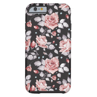 Cas floral rose vintage de l'iPhone 6 de motif Coque Tough iPhone 6