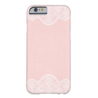 Cas Girly de l'iPhone 6 de dentelle florale rose Coque Barely There iPhone 6