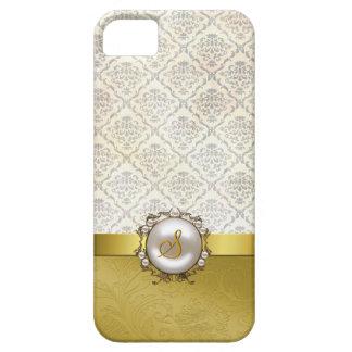 Cas goldtone et crème chic de l'iPhone 5 de damass Coque iPhone 5