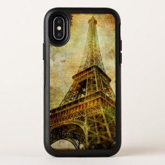 Cas grunge de l'iPhone X d'OtterBox de Tour Eiffel