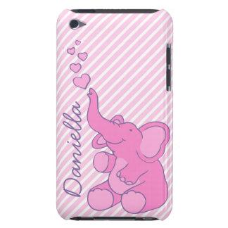 Cas mignon nommé de contact d'iPod d'éléphant rose Étui Barely There iPod