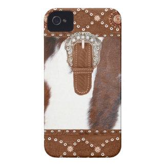 Cas occidental d IPhone 4 de peau de vache et de c Coques iPhone 4 Case-Mate