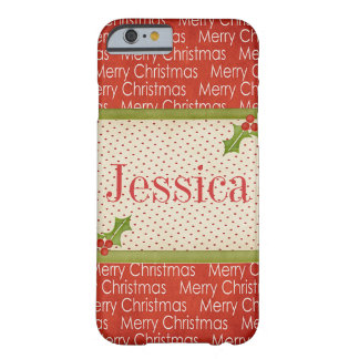Cas personnalisable de l'iPhone 6 de Joyeux Noël Coque Barely There iPhone 6