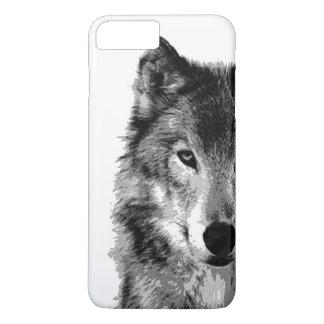 Cas plus de l'iPhone 7 de loup noir et blanc Coque iPhone 7 Plus