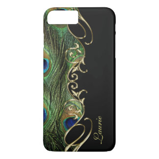 Cas plus de monogramme de l'iPhone 7 d'or de plume Coque iPhone 8 Plus/7 Plus