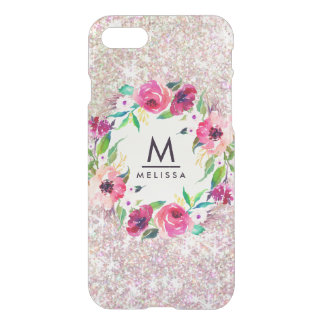 Cas rare de l'iPhone 7 de monogramme rose d'or de Coque iPhone 7