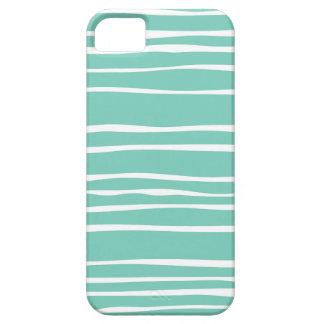 Cas rayé génial de l iPhone 5 5S de turquoise Étui iPhone 5