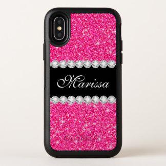 Cas rose élégant de l'iPhone X d'OtterBox de noir
