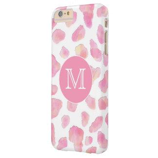 Cas rose ROSE de téléphone de monogramme de Coque iPhone 6 Plus Barely There