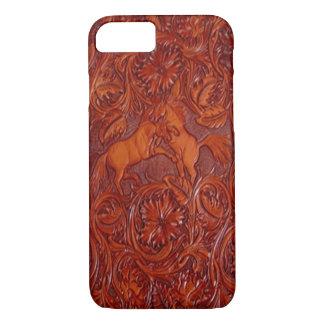 cas simili cuir de téléphone de mustang sauvage coque iPhone 7